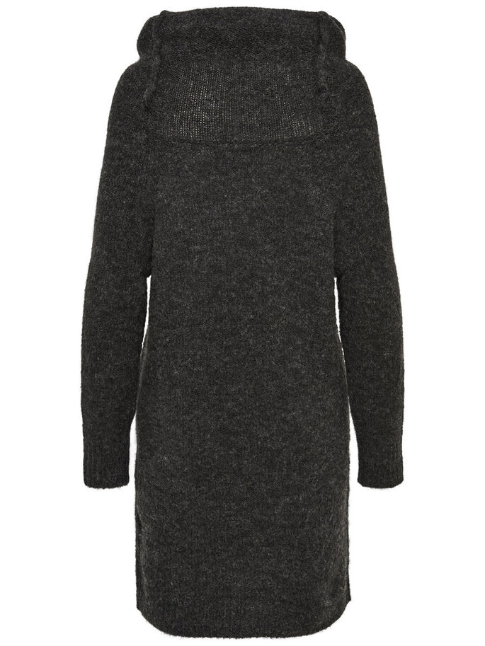 LONG SLEEVED KNITTED DRESS, Dark Grey Melange, large