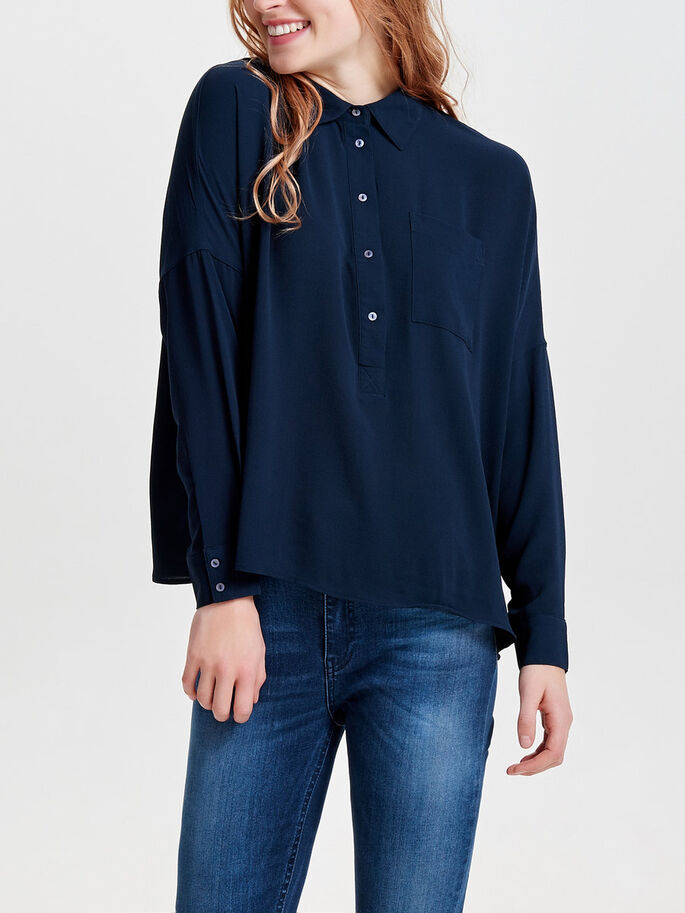 LOOSE LONG SLEEVED SHIRT, Sky Captain, large