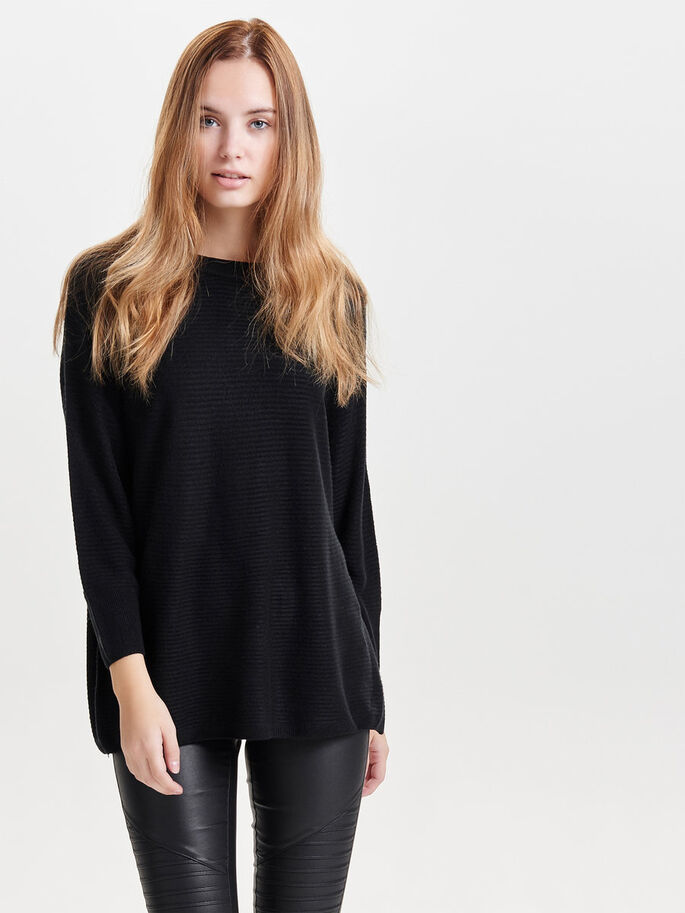 LØS STRIKKET PULLOVER, Black, large
