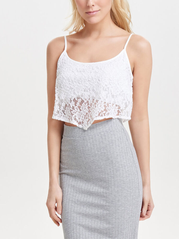 CROPPED TOP SANS MANCHES, Cloud Dancer, large