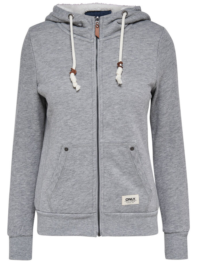 SWEAT HOODIE, Light Grey Melange, large