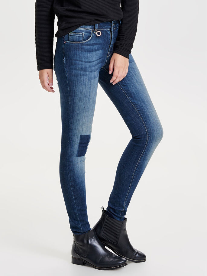 CARMEN REG PATCH JEAN SKINNY, Dark Blue Denim, large