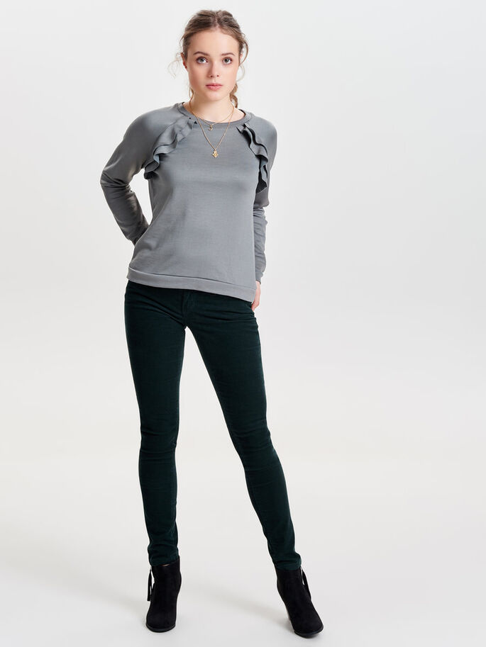 FRILL SWEATSHIRT, Dark Grey, large