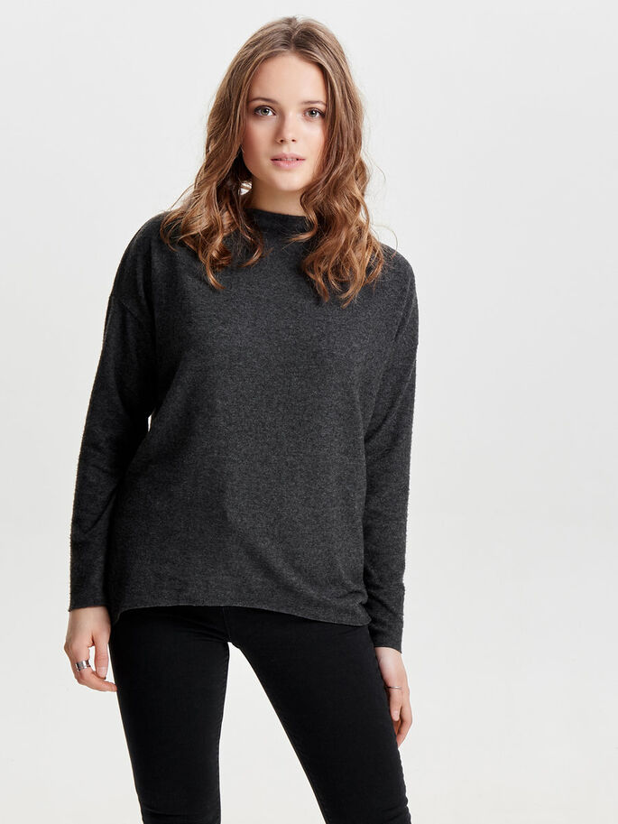 LØS STRIKKET PULLOVER, Dark Grey Melange, large