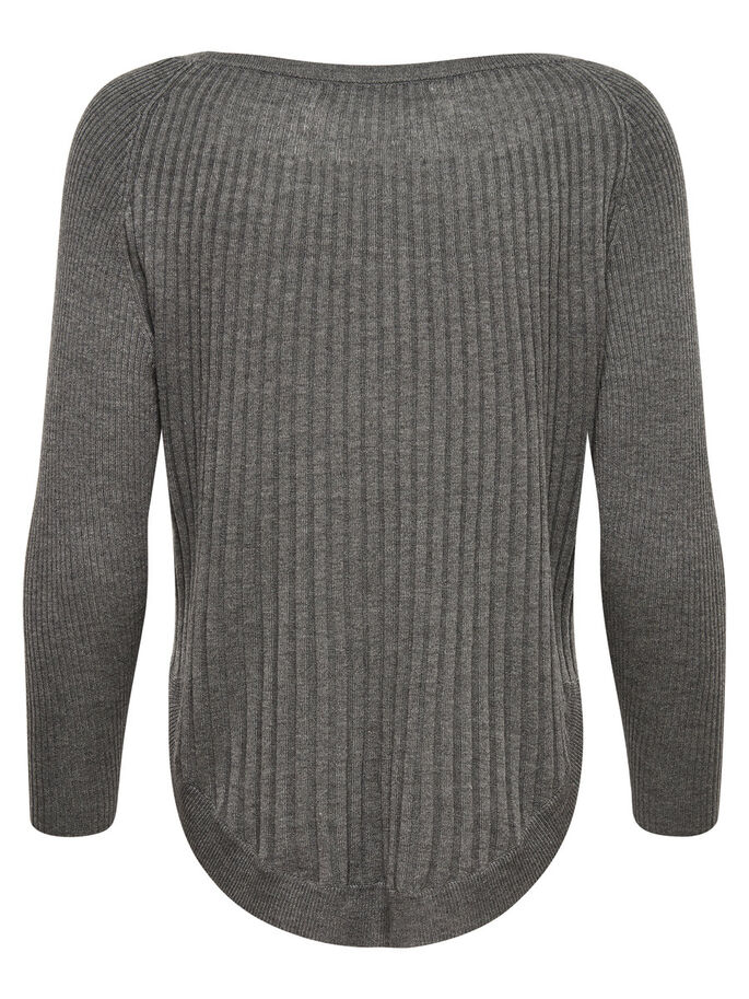 RIBB STRIKKET PULLOVER, Medium Grey Melange, large