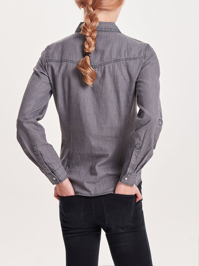 DENIM LONG SLEEVED SHIRT, Grey Denim, large