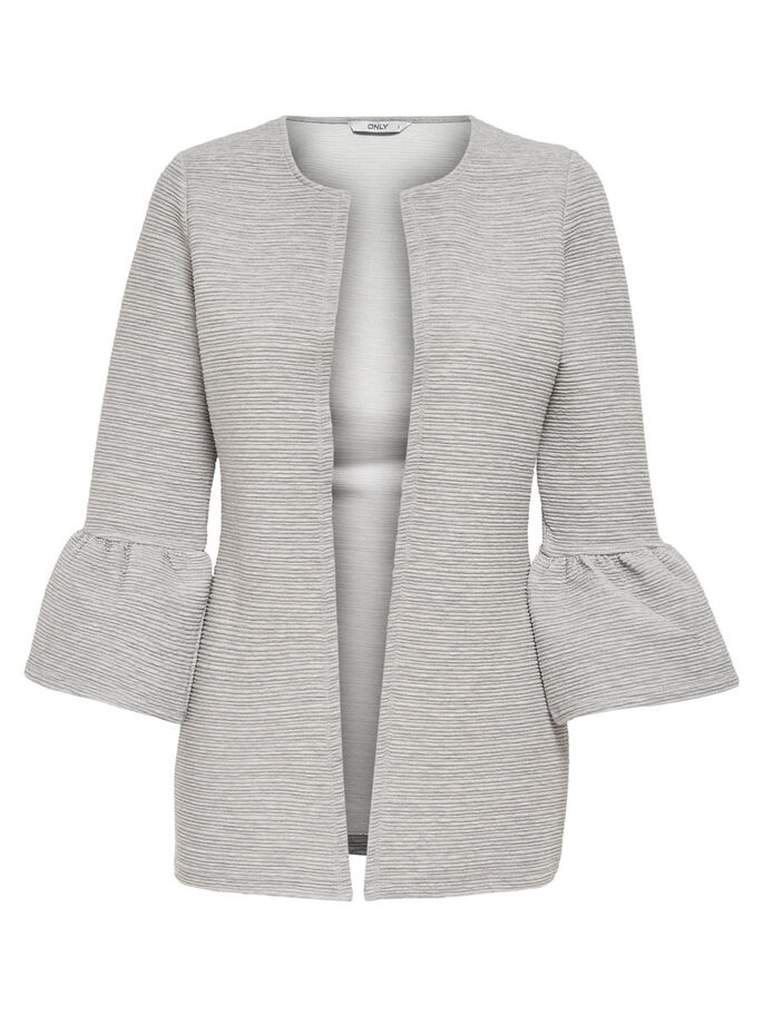 DETAILED KNITTED CARDIGAN, Light Grey Melange, large