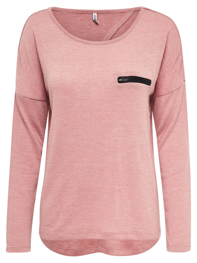 DETAILED KNITTED PULLOVER, Ash Rose, large
