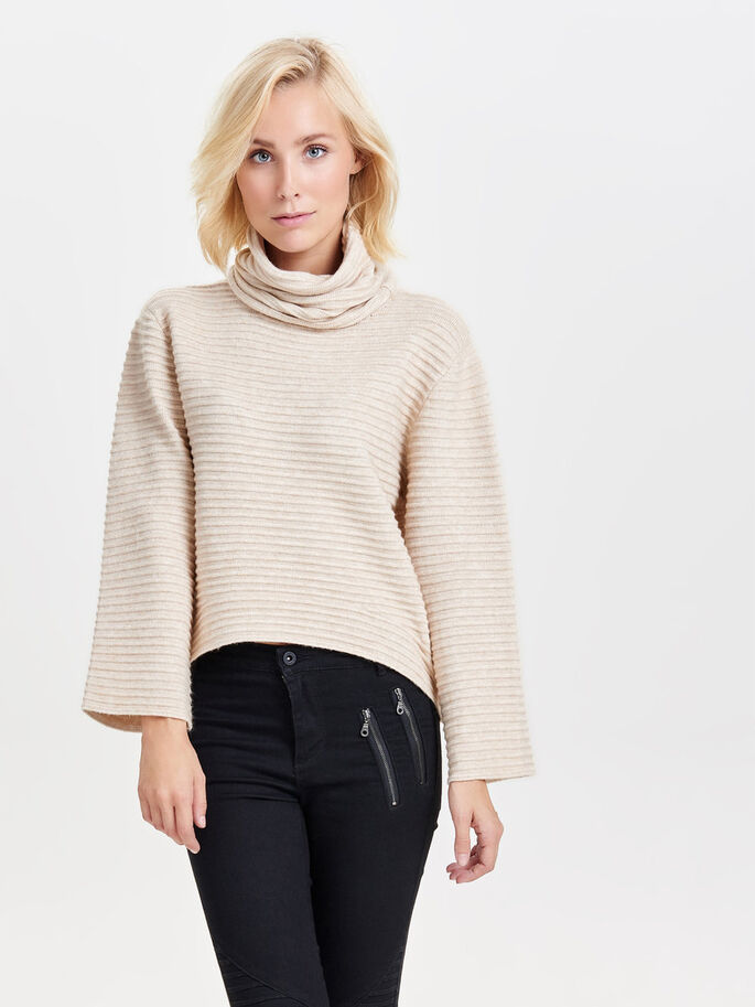 ROLLNECK KNITTED PULLOVER, Pumice Stone, large