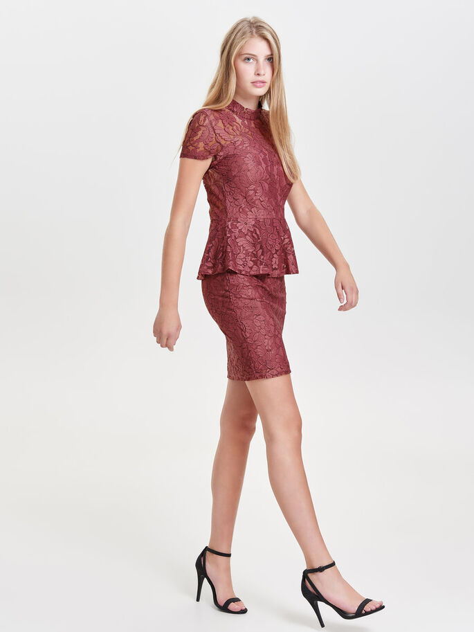 PEPLUM JURK MET KORTE MOUWEN, Withered Rose, large