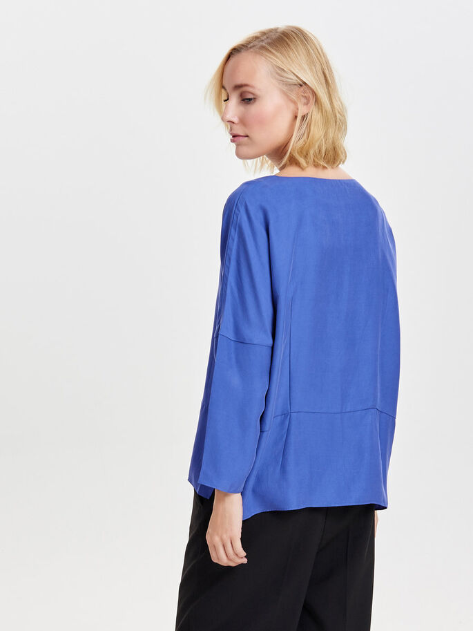 SOLID LONG SLEEVED TOP, Amparo Blue, large
