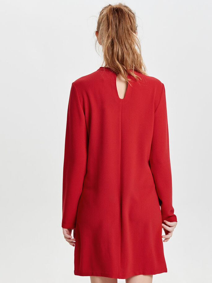 HIGH NECK LONG SLEEVED DRESS, Tango Red, large