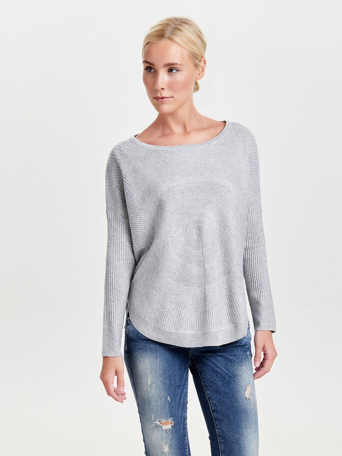 DETALJERT STRIKKET PULLOVER, Light Grey Melange, large