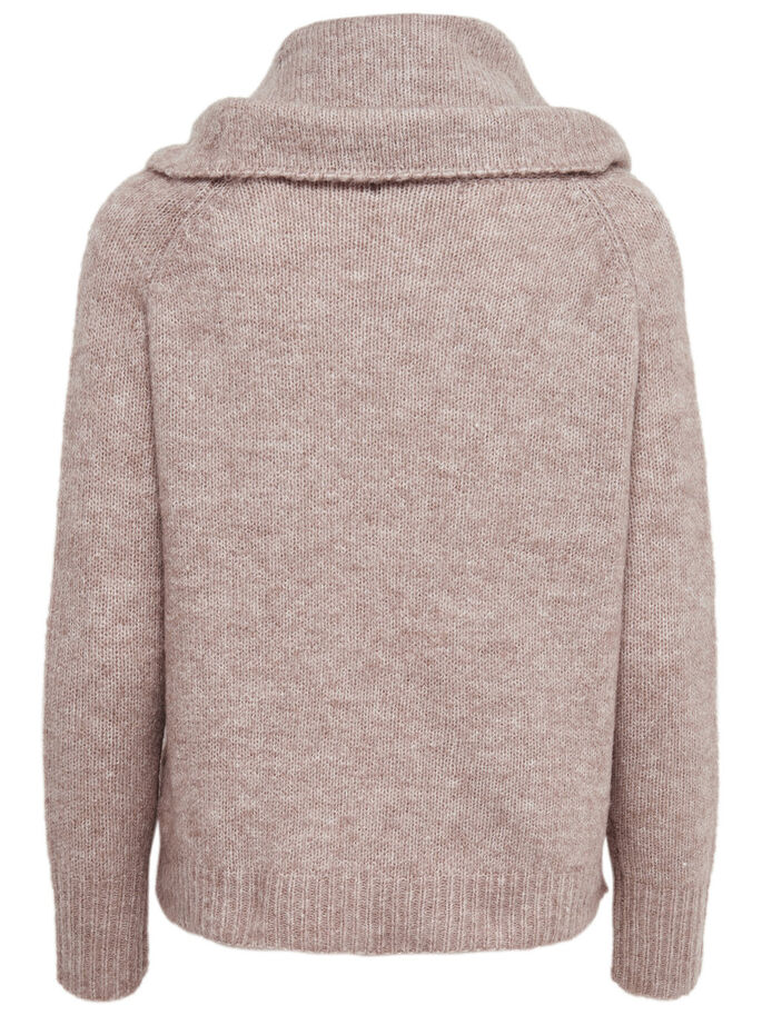 HØJHALSET STRIKKET PULLOVER, Tobacco Brown, large