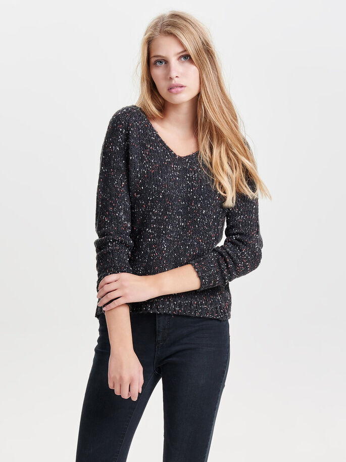 LOOSE FIT STRIKKET PULLOVER, Dark Navy, large