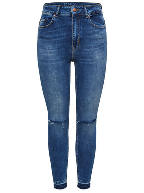 CORAL HIGH KNEECUT ANKLE SKINNY FIT JEANS