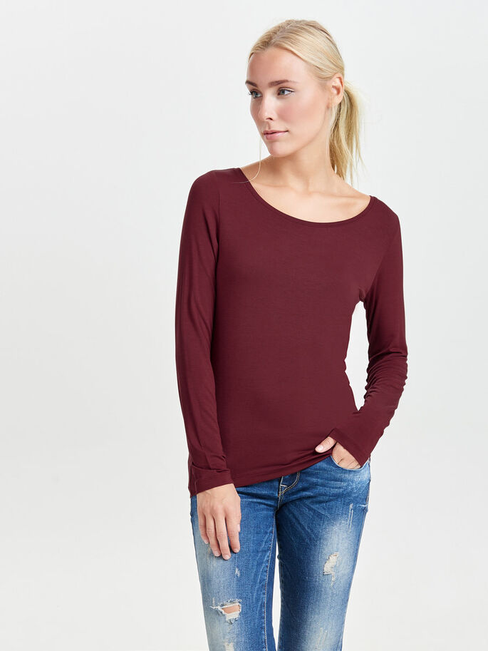 KNITTED LONG SLEEVED TOP, Syrah, large