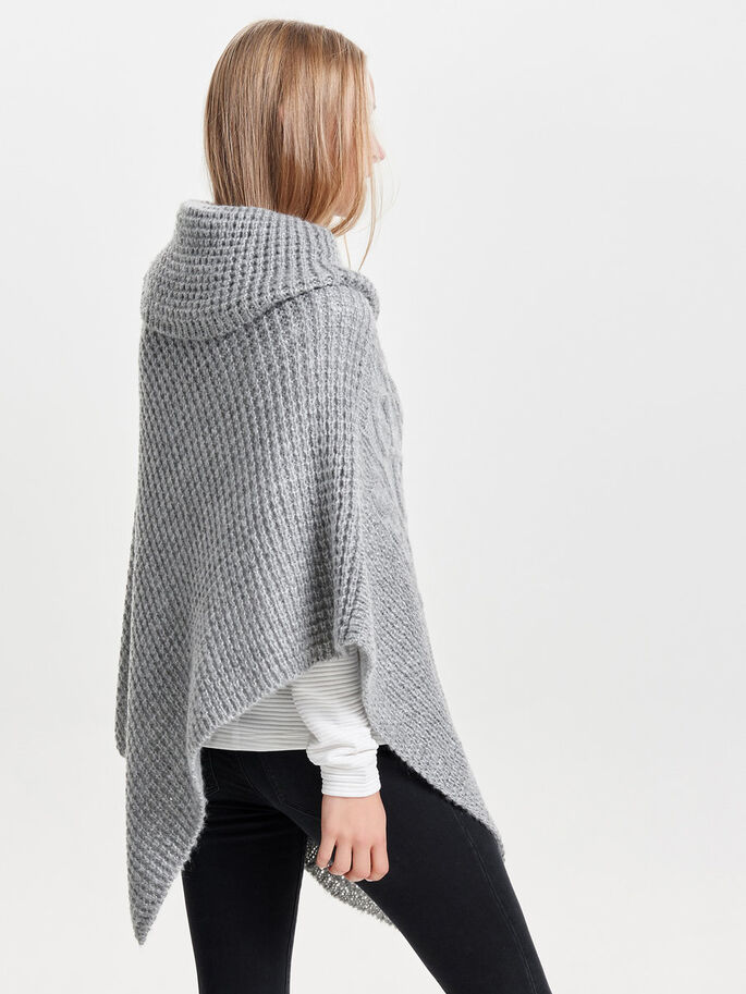 STRIKKET PONCHO, Light Grey Melange, large
