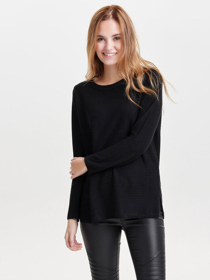 COULEUR UNIE PULL EN MAILLE, Black, large