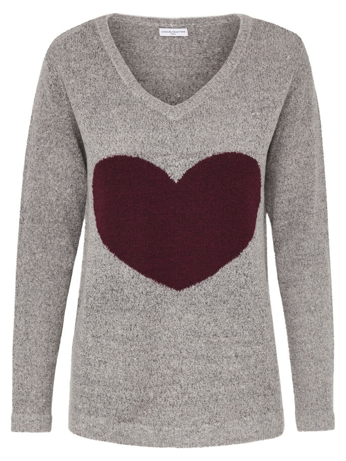 HEART KNITTED PULLOVER, Light Grey Melange, large
