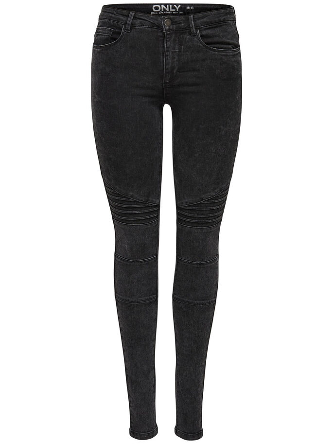 ROBBI REG ACID BIKER SKINNY FIT JEANS, Black, large