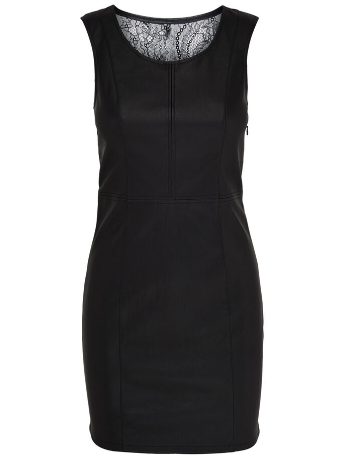 LEATHER LOOK SLEEVELESS DRESS, Black, large