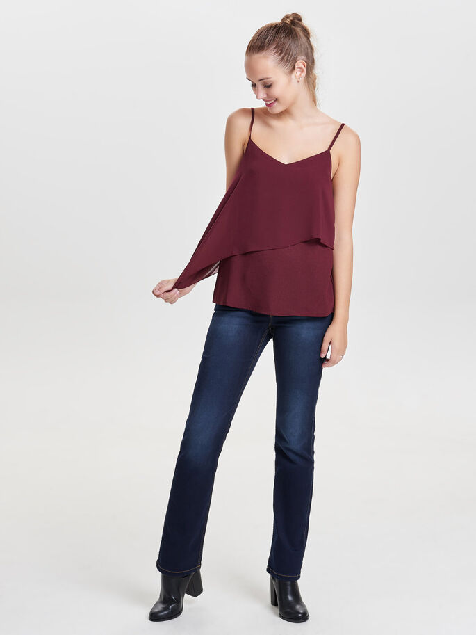 CHIFFON SLEEVELESS TOP, Windsor Wine, large