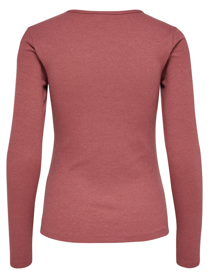 LACE-UP LONG SLEEVED TOP, Withered Rose, large