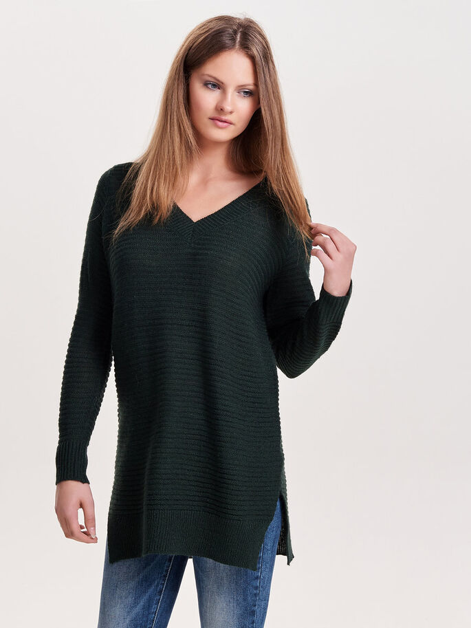 LONG KNITTED PULLOVER, Scarab, large