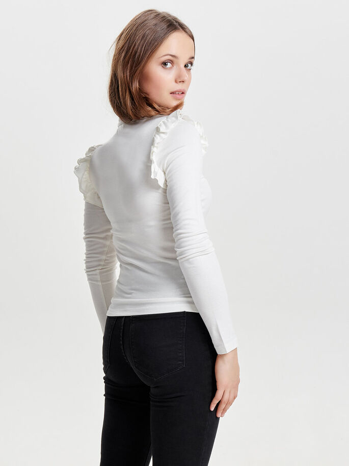HIGH NECK KNITTED TOP, Cloud Dancer, large
