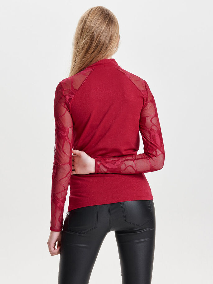 BLONDE TOP MED LANGE ÆRMER, Jester Red, large