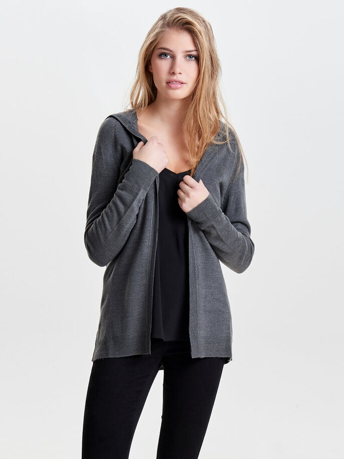 SOLID KNITTED CARDIGAN, Dark Grey Melange, large