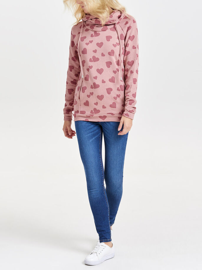 PRINT SWEATSHIRT, Ash Rose, large