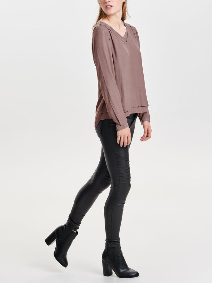 LOOSE LONG SLEEVED TOP, Deep Taupe, large