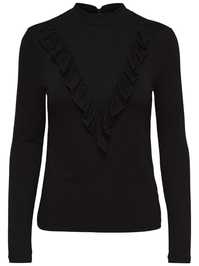 FLÆSE TOP MED LANGE ÆRMER, Black, large
