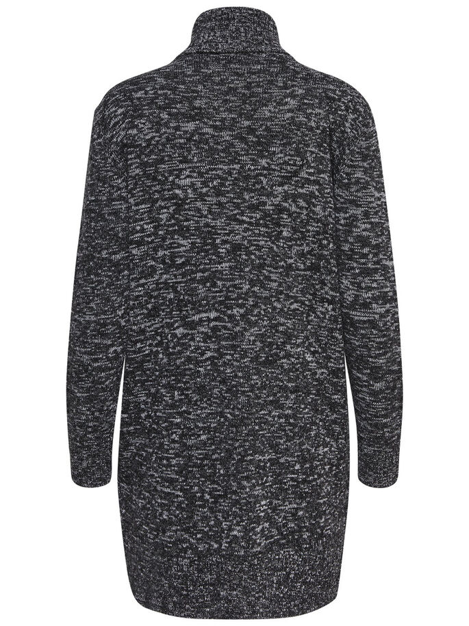 LONG HIGH NECK KNITTED PULLOVER, Black, large