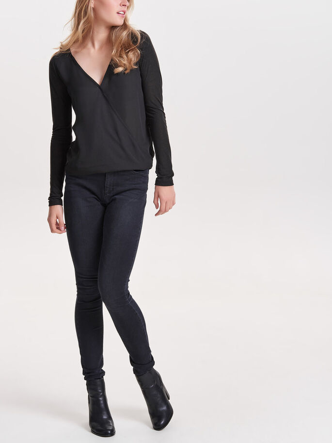 WRAP TOP MED LANGE ÆRMER, Black, large