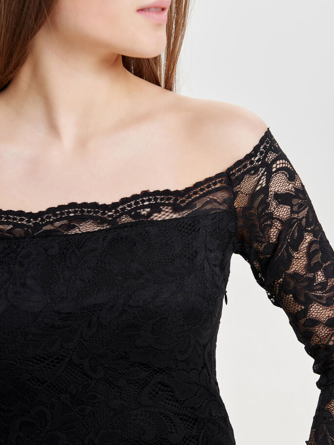 LONG SLEEVED LACE DRESS, Black, large