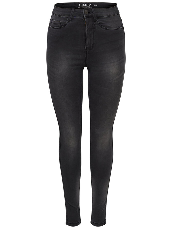 RAVAGE HIGH WAIST BLACK SKINNY FIT JEANS, Black, large