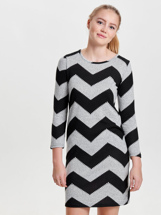 ZIGZAG KORTE JURK, Light Grey Melange, large
