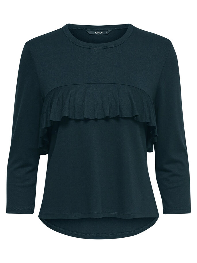 FRILL 3/4 SLEEVED TOP, Scarab, large