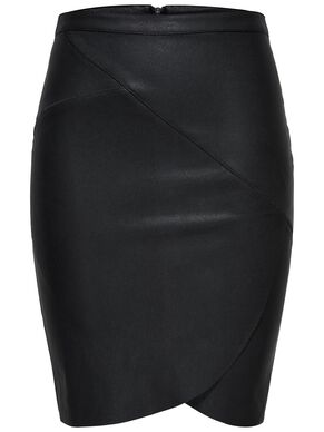 WRAP LEATHER LOOK SKIRT