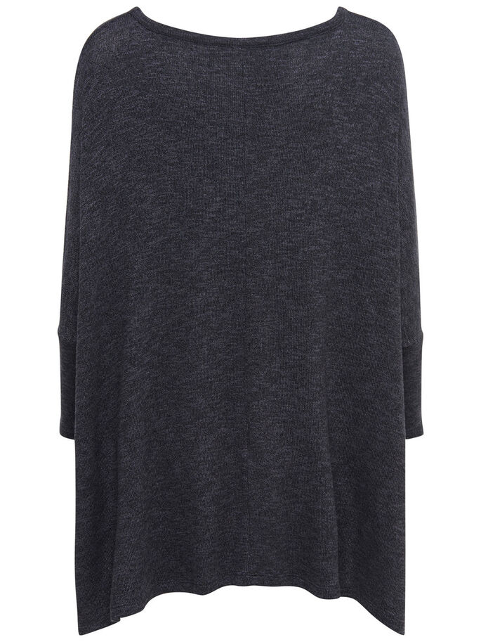 OVERSIZE FIT STICKAD TOPP, Dark Grey Melange, large