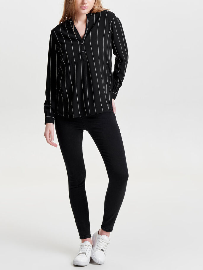 STRIPED LONG SLEEVED TOP, Black, large
