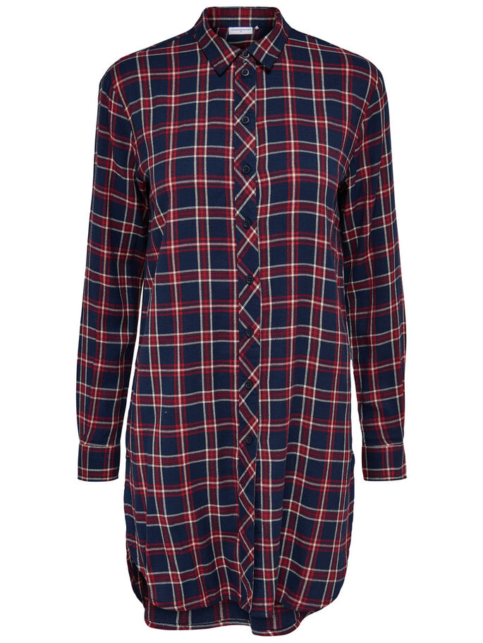 CHECKED LONG SLEEVED SHIRT, Sky Captain, large