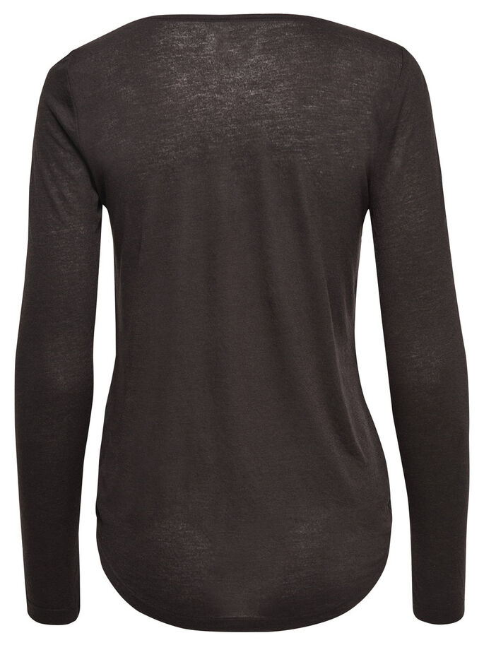 WIKKEL TOP MET LANGE MOUWEN, Black, large