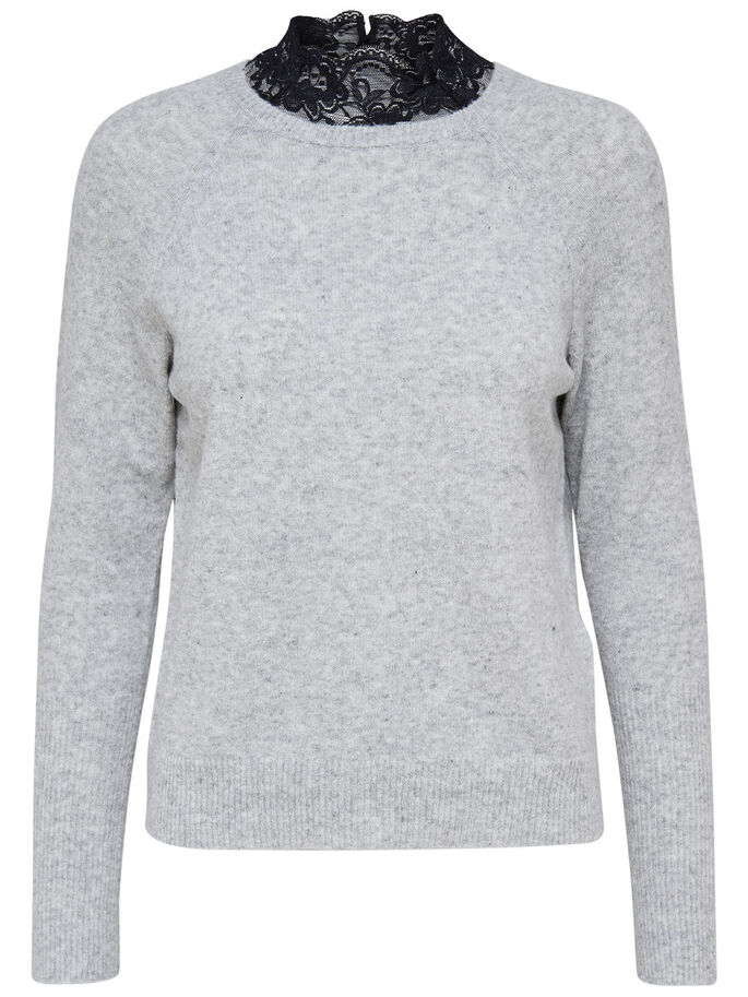 HØYHALSET STRIKKET PULLOVER, Light Grey Melange, large