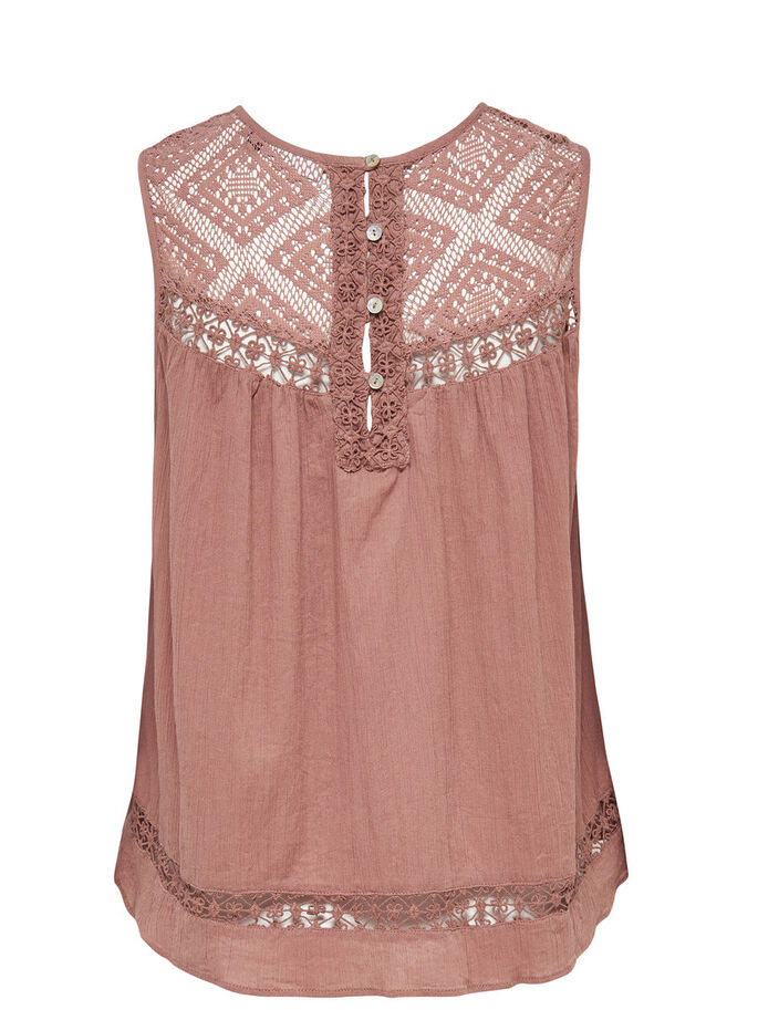 LACE SLEEVELESS TOP, Cognac, large