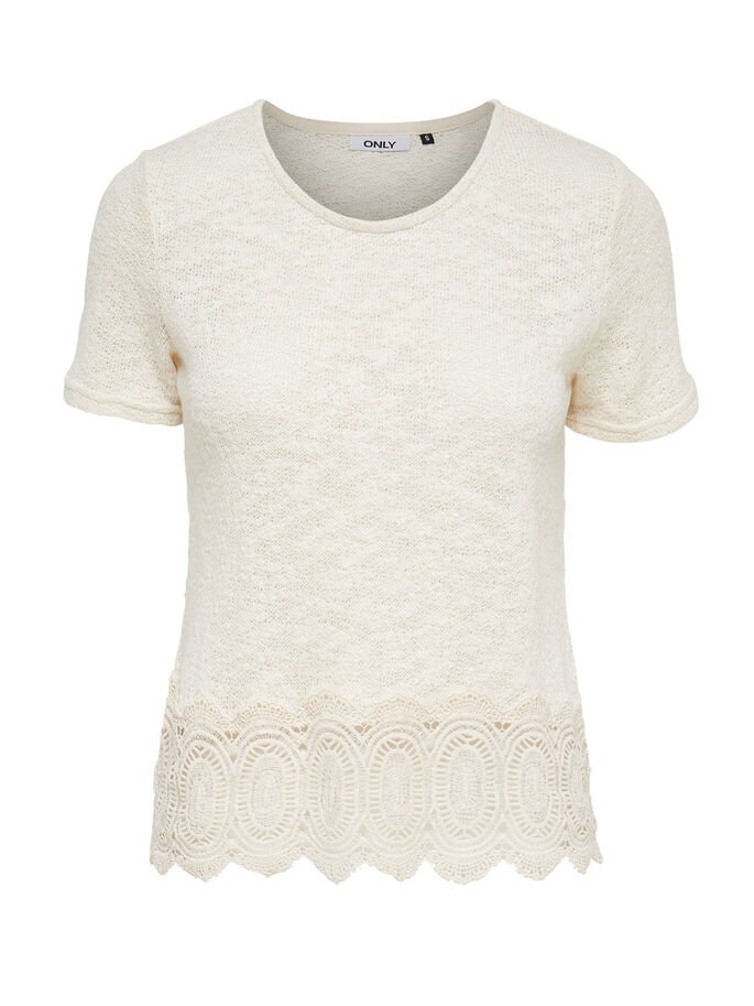 CROCHET SHORT SLEEVED TOP, Cloud Dancer, large