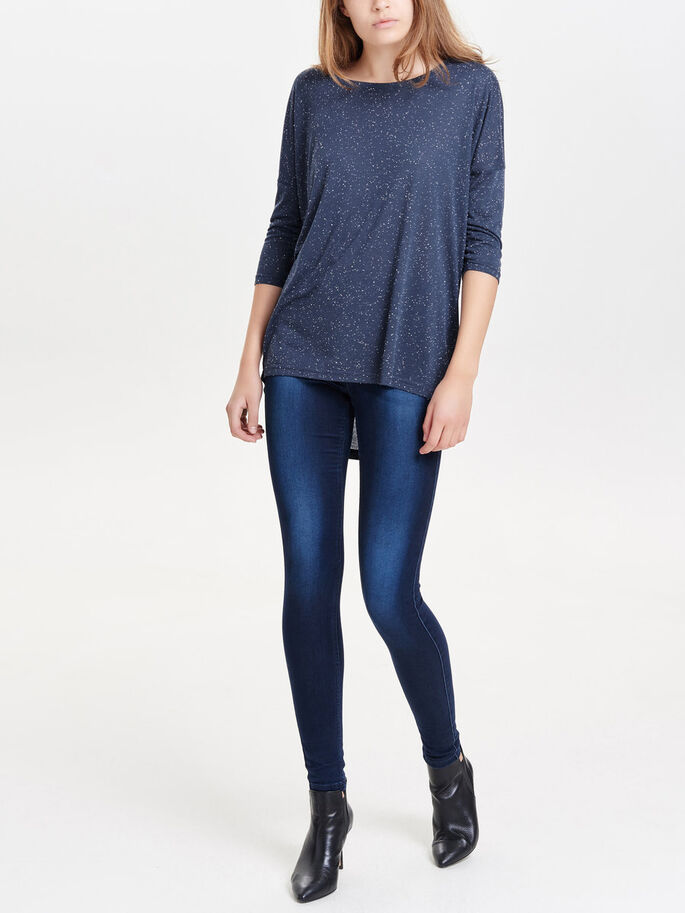 OVERSIZED 3/4 SLEEVED TOP, Mood Indigo, large